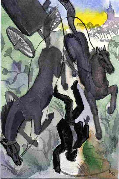 Illustration von Roman Krasnitzky: Perde mit Kutsche und Kutscher stürzen in den Born