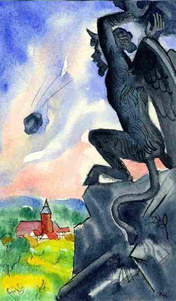 Illustration von Roman Krasnitzky: Teufel schleudert Felsstücke