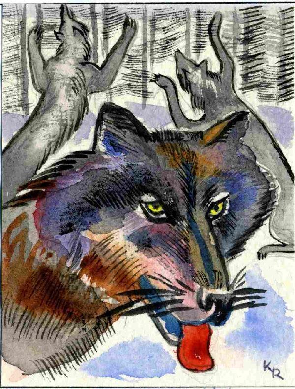 Illustration von Roman Krasnitzky: Wölfe