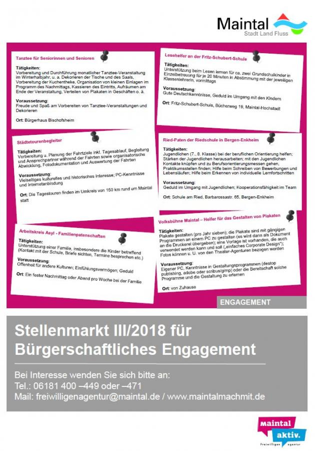 """Dieser Link führt zur PDF-Datei """"Stellenmarkt für bürgerschaftliches Engagement 3/2018"""""""