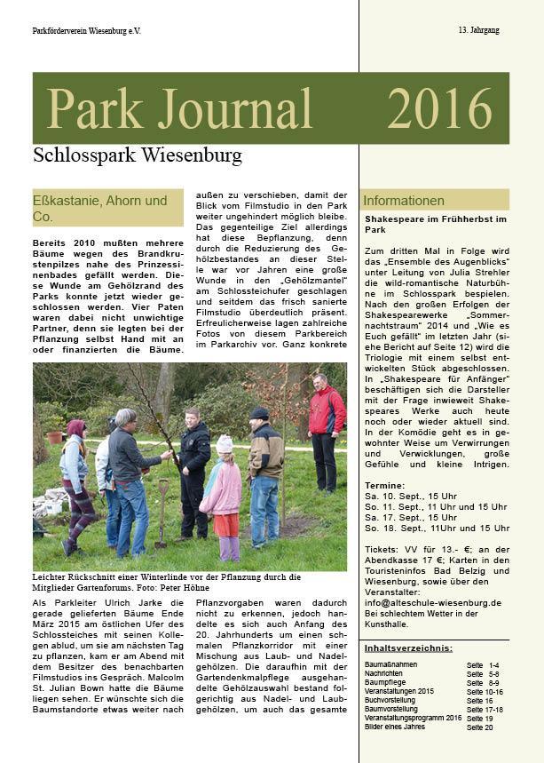 Titelseite Parkjournal  2016