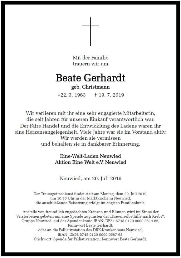 Todesanzeige Beate Gerhardt