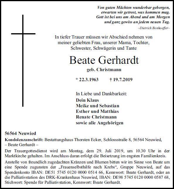 Todesanzeige Gerhardt 2