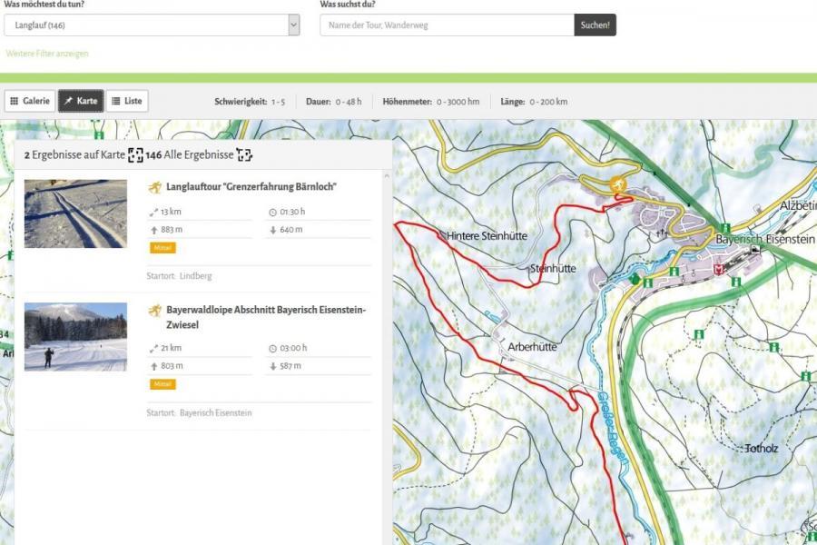 Ansicht Tourenportal Ferienregion Nationalpark Bayerischer Wald