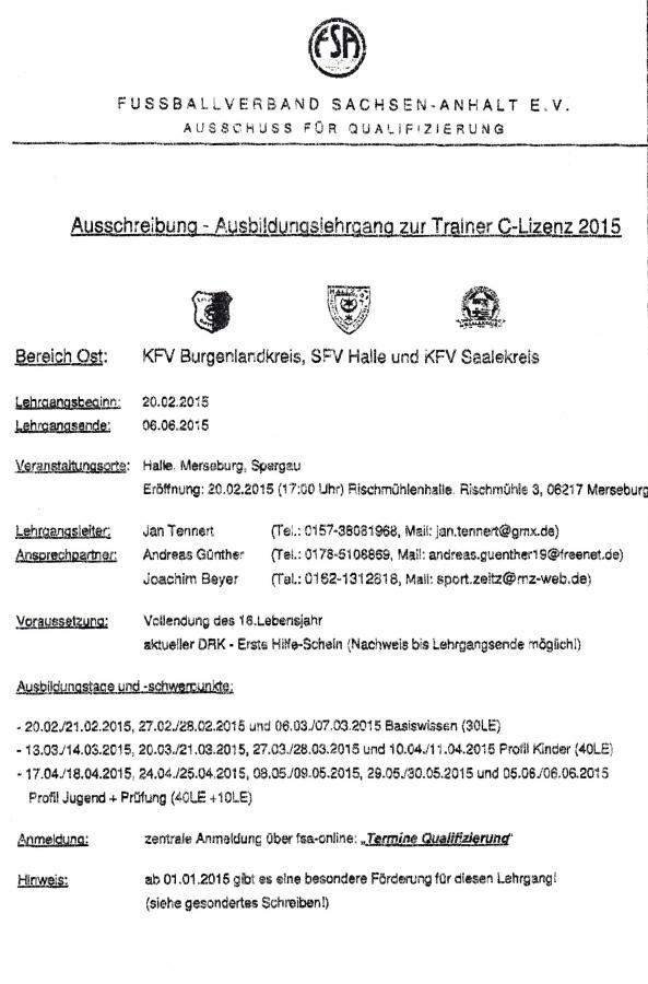 Ausschreibung-Ausbildungslehrgang zur Trainer-C-Lizenz