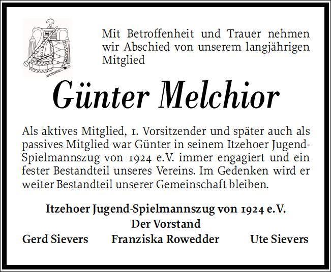 Traueranzeige Günter Melchior