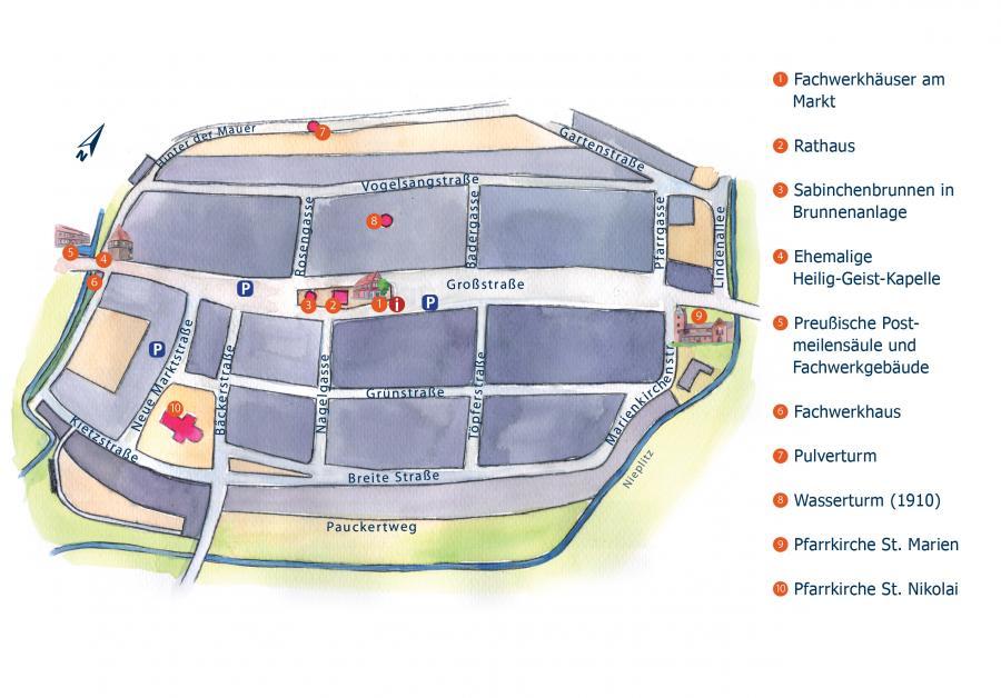 Stadtplan von Treuenbrietzen, Illustration Berida, Malerei und Illustration, Rostock, www.berida.de