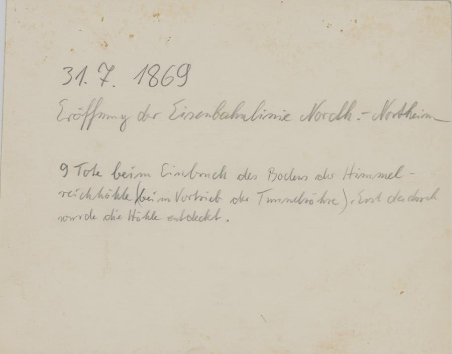 Rückseiteneintrag zum Foto Tunnelbaueinweihung 1869