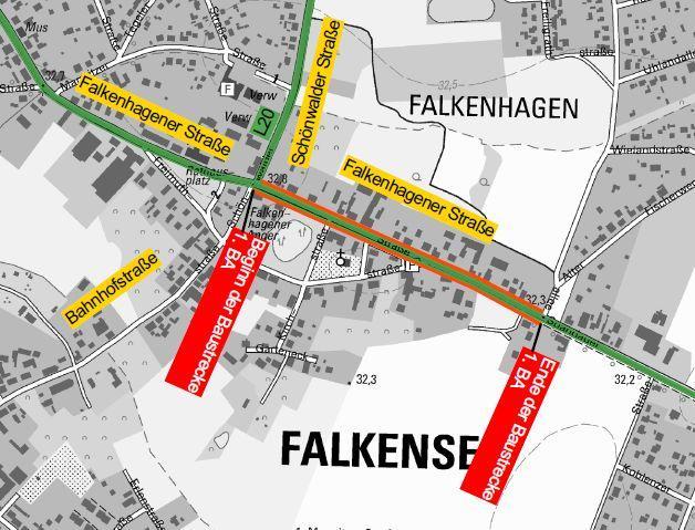 Ausschnitt Übersichtskarte Radwegbau Falkenhagener Straße