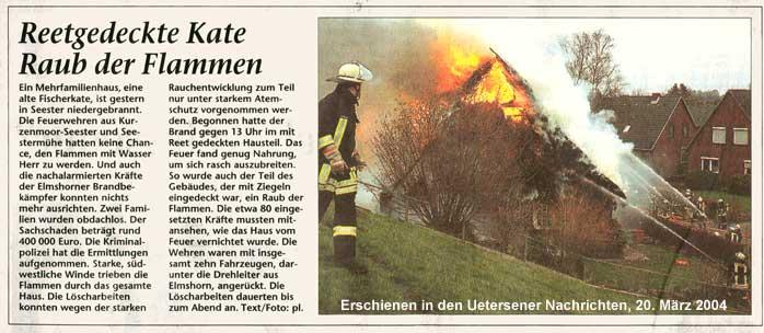 Artikel Uetersener Nachrichten, 20.03.2004