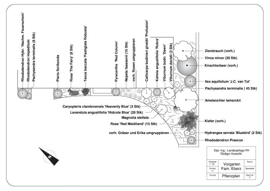 Umgestaltung der Bepflanzung eines kleinen Vorgartens in Welling (ca. 45 qm)