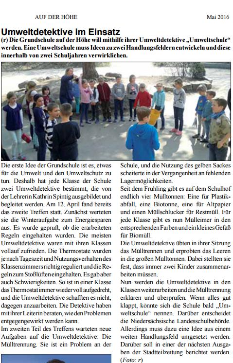 """Umweltdetektive im Einsatz - Stadtteilzeitung """"Auf der Höhe"""" - Mai 2016"""