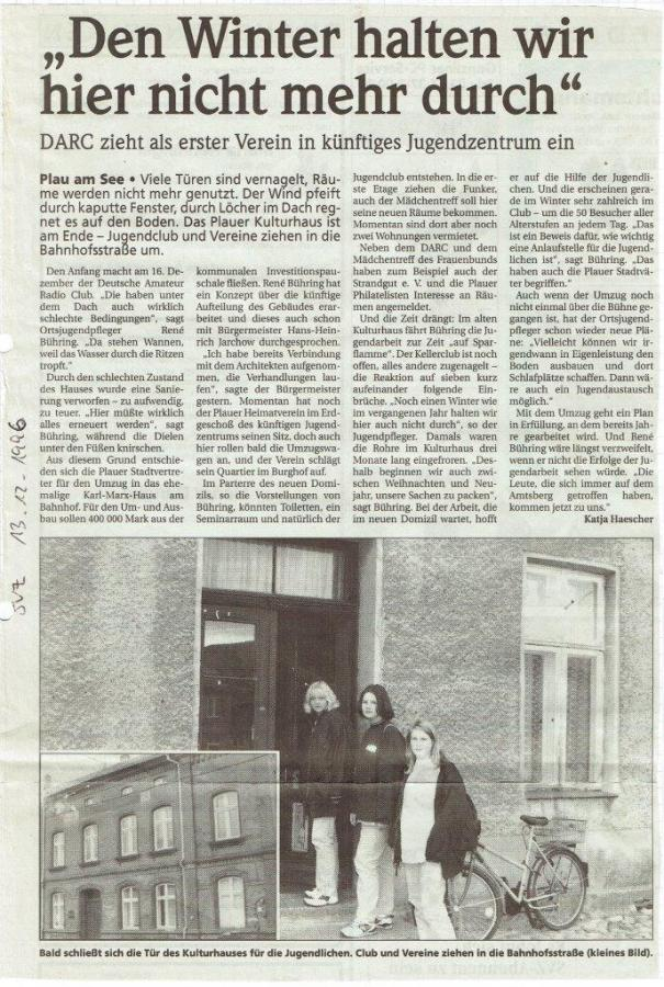 Ehemaliges Kulturhaus nicht mehr nutzbar, SVZ Dezember 1996