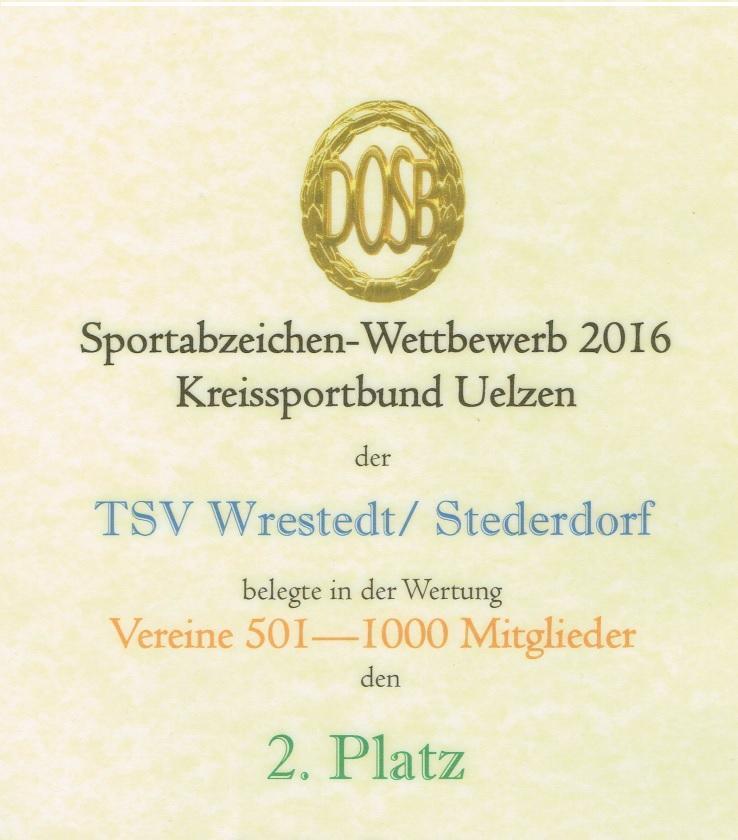 Urkunde Sportabzeichen 2016