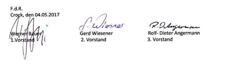 Unterschriften Vereinssatzung