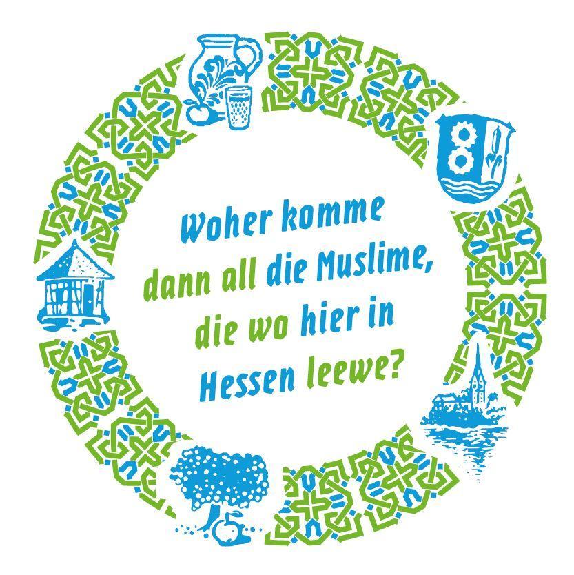 Bild zeigt Getränkeuntersetzer zu: Woher komme dann all die Muslime, die wo hier in Hessen leewe?  Bild; Orient-Netzwerk e.V.