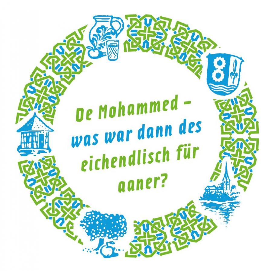 Bild zeigt Getränkeuntersetzer zu: De Mohammed - was war dann des eichendlisch für aaner? Bild; Orient-Netzwerk e.V.