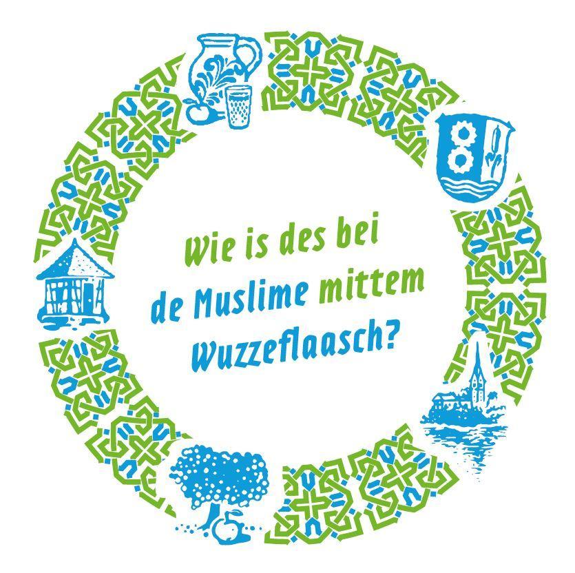 Bild zeigt Getränkeuntersetzer zu: Wie is des bei de Muslime mittem Wuzzeflaasch?  Bild; Orient-Netzwerk e.V.
