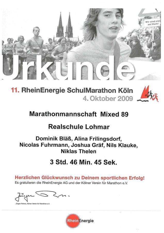 Urkunde 11. RheinErnergie Schulmarathon Köln