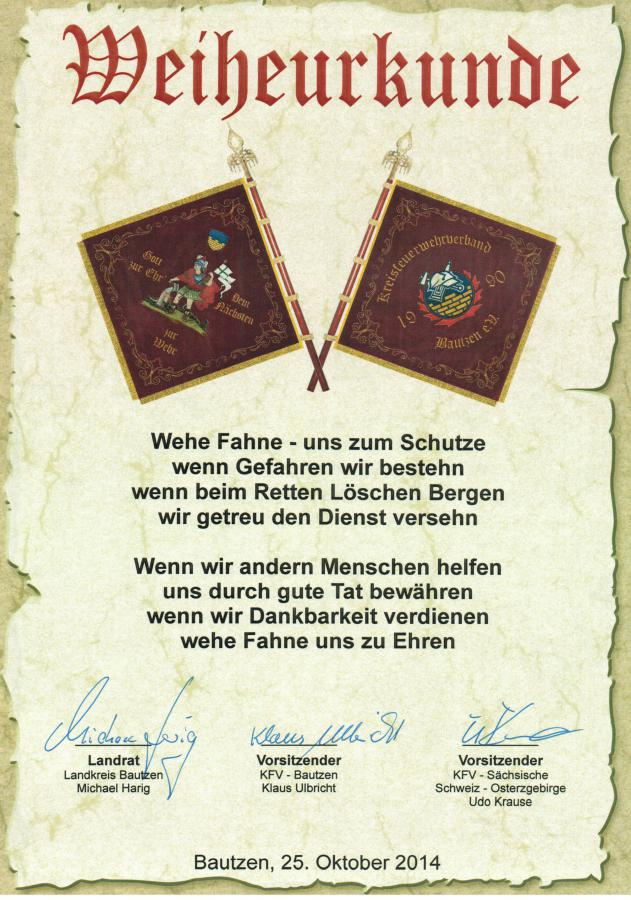 Urkunde Fahnenweihe