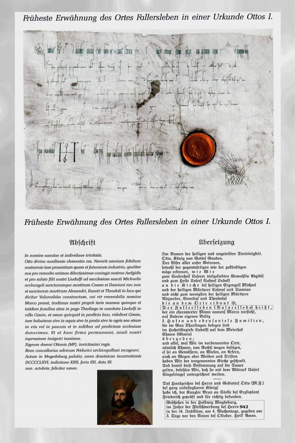 Fallersleben Urkunde Ottos I. von 942