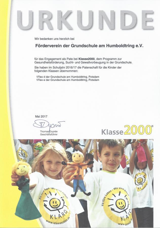 Urkunde FV Klasse 2000
