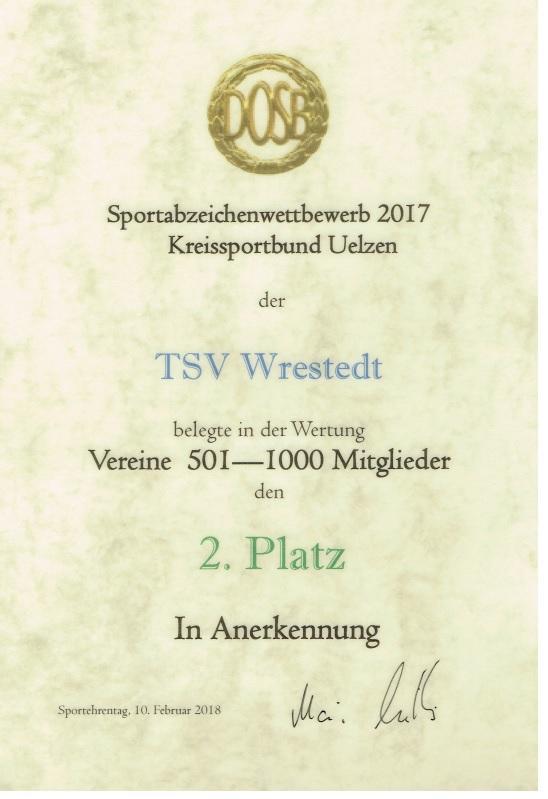 Urkunde Sportabzeichen im Jahr 2017