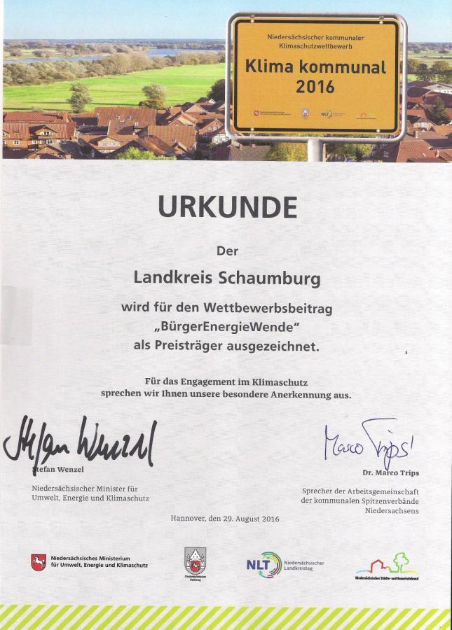 Urkunde Klima kommunal 2016
