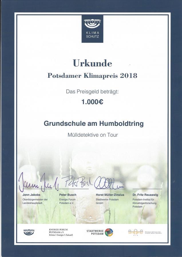 Urkunde Klimapreis 2018