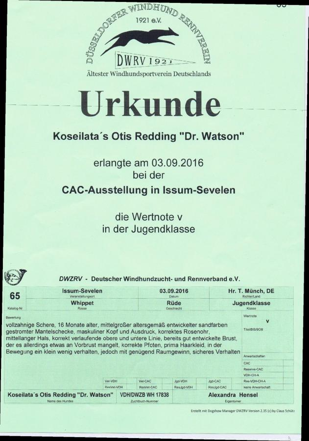 Urkunde Watson