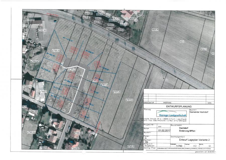 Erschließungsträger für die Erschließung von Wohnbauflächen in der Gemeinde 98617 Vachdorf gesucht - Lageplan