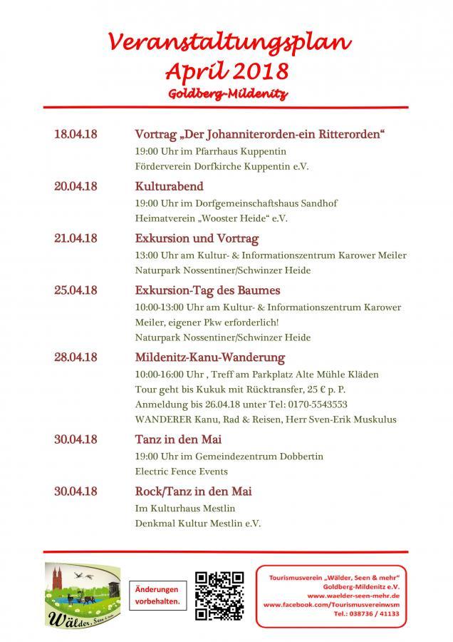 Veranstaltungen April 1