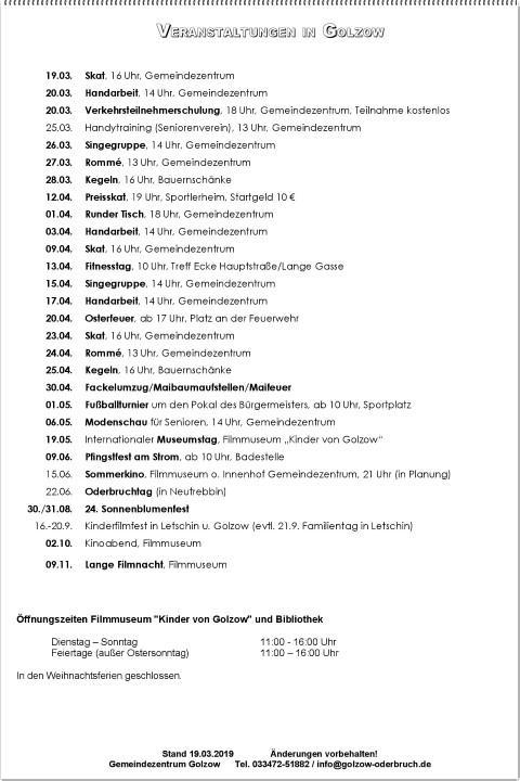 Veranstaltungskalender für Golzow