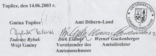 Unterschriften der Vereinbarung
