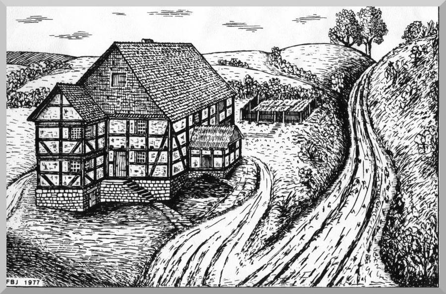 Vermutliche Ansicht Harster Heerweg über den Mühlberg