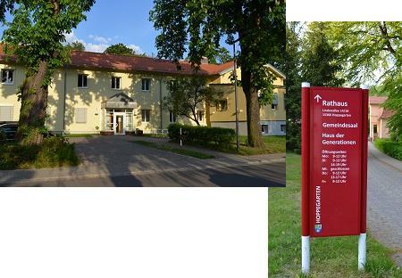 Verwaltungsgebäude und Hinweisschild