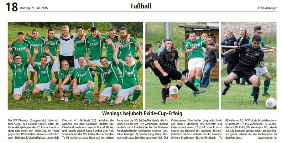 VfR Wenings Sieger im Exide-Cup 2015