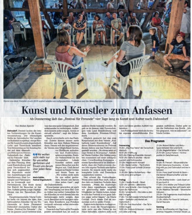 Märkische Allgemeine vom 03.08.2016