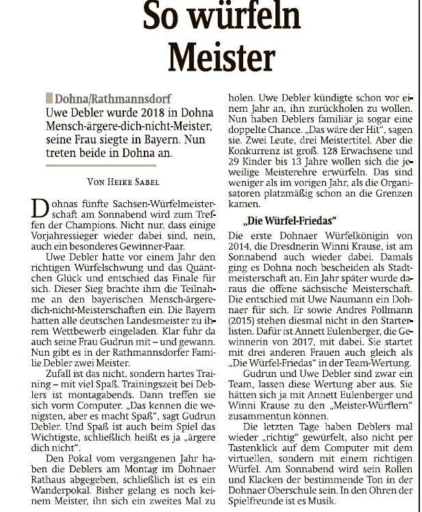 Vorbericht zur Meisterschaft aus der Sächsischen Zeitung