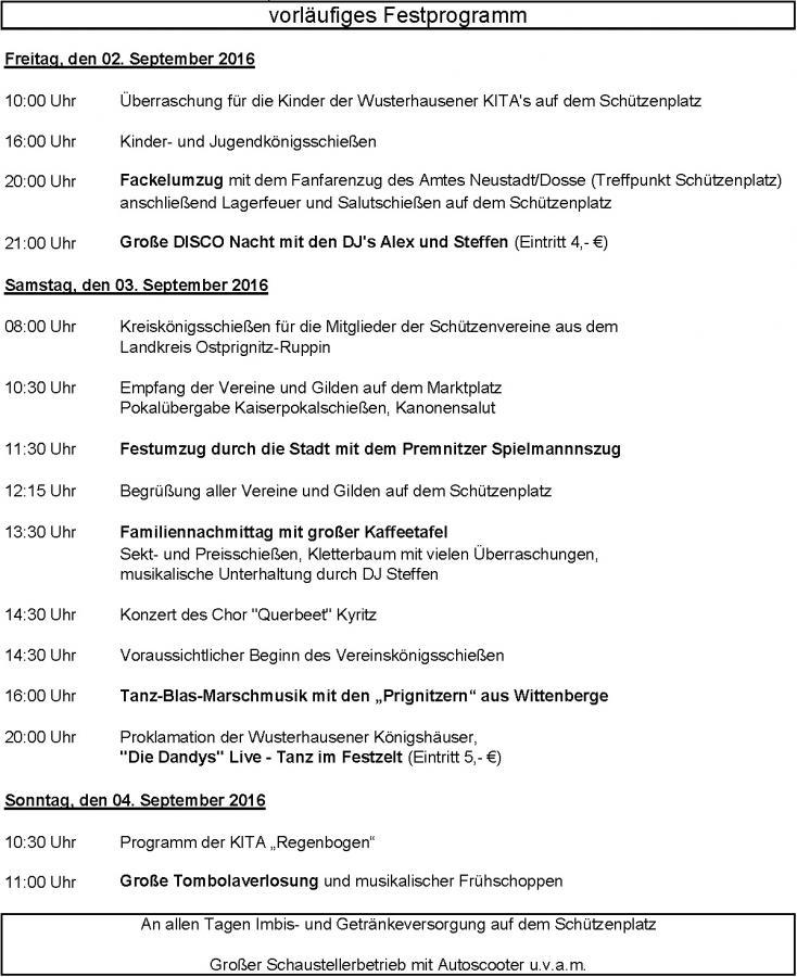 vorläufiges Festprogramm Schützenfest 2016