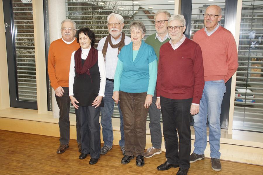 (v.l.) Otto Förstner, Christel Woelfle, Ulrich Lang, Ingrid Fink, Reinhard Urbanke, Martin Lassak, Ralf-Peter Oelkrug