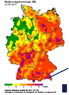 Waldbrandgefahrenindex vom DWD