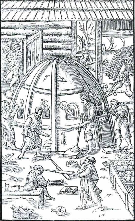 schematische Darstellung einer Waldglashütte nach Agricola