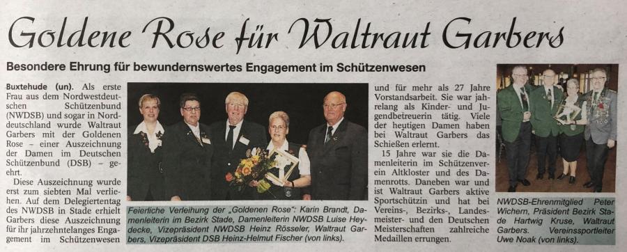 Waltraut Garbers Trägerin der Goldenen Rose