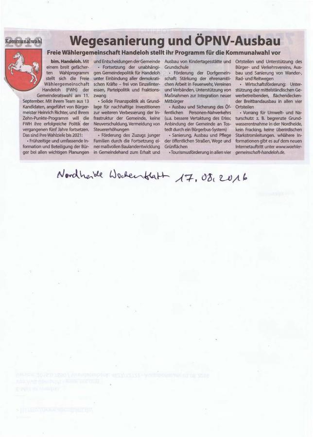 Wochenblattbericht 17.08.2016