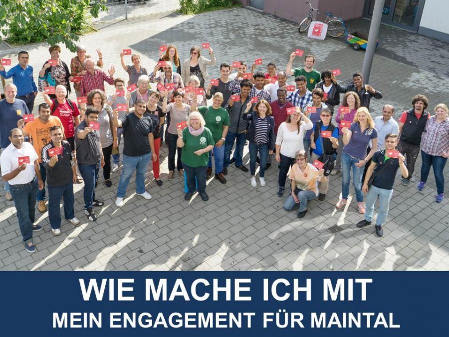 """Link zu Vermittlung von Freiwilligen; Bild zeigt Menschengruppe und den Text """"Wie mache ich mit - Mein Engagement für Maintal"""""""