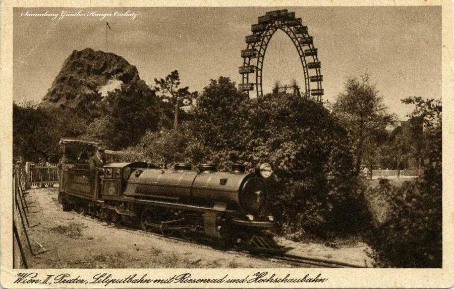 Wien II. Prater Liliputbahn mit Riesenrad und Hochschaubahn