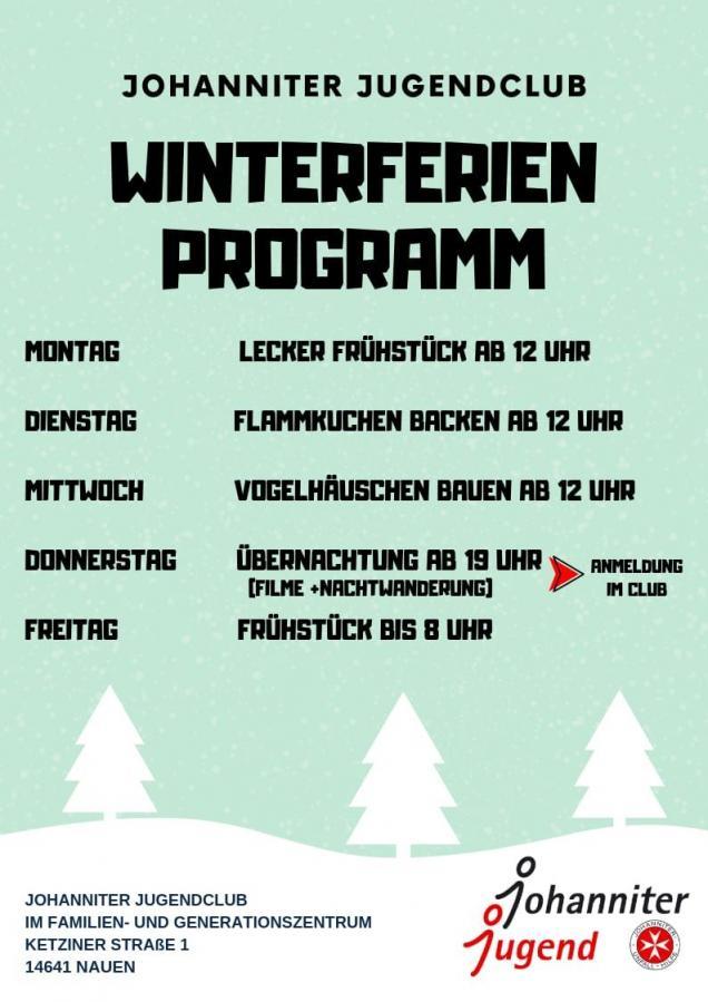 Winterferien-Programm Johanniter-Jugendclub im FGZ