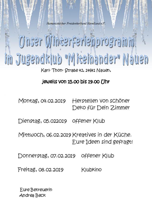 """Winterferien-Programm des Jugendtreff """"Miteinander"""" in der Karl-Thon-Str. 42"""