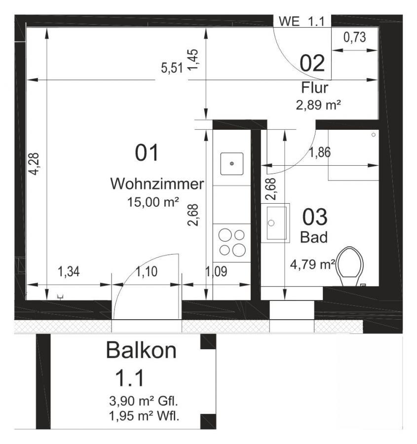 Grundriß 1 Raumwohnung